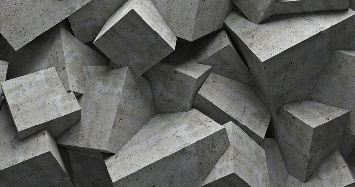 An abstract collection of concrete cubes moulded together